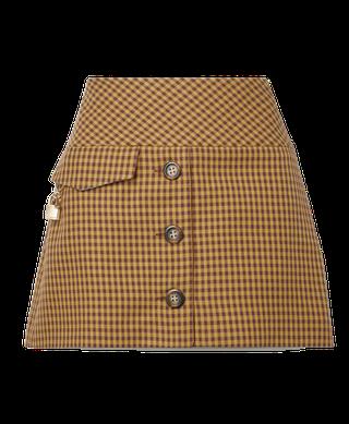 Checked Cotton-Blend Twill Mini Skirt