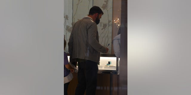 Ben Affleck was spotted on Monday looking at rings and other jewelry at Tiffany and Co. at Century City mall in Los Angeles.